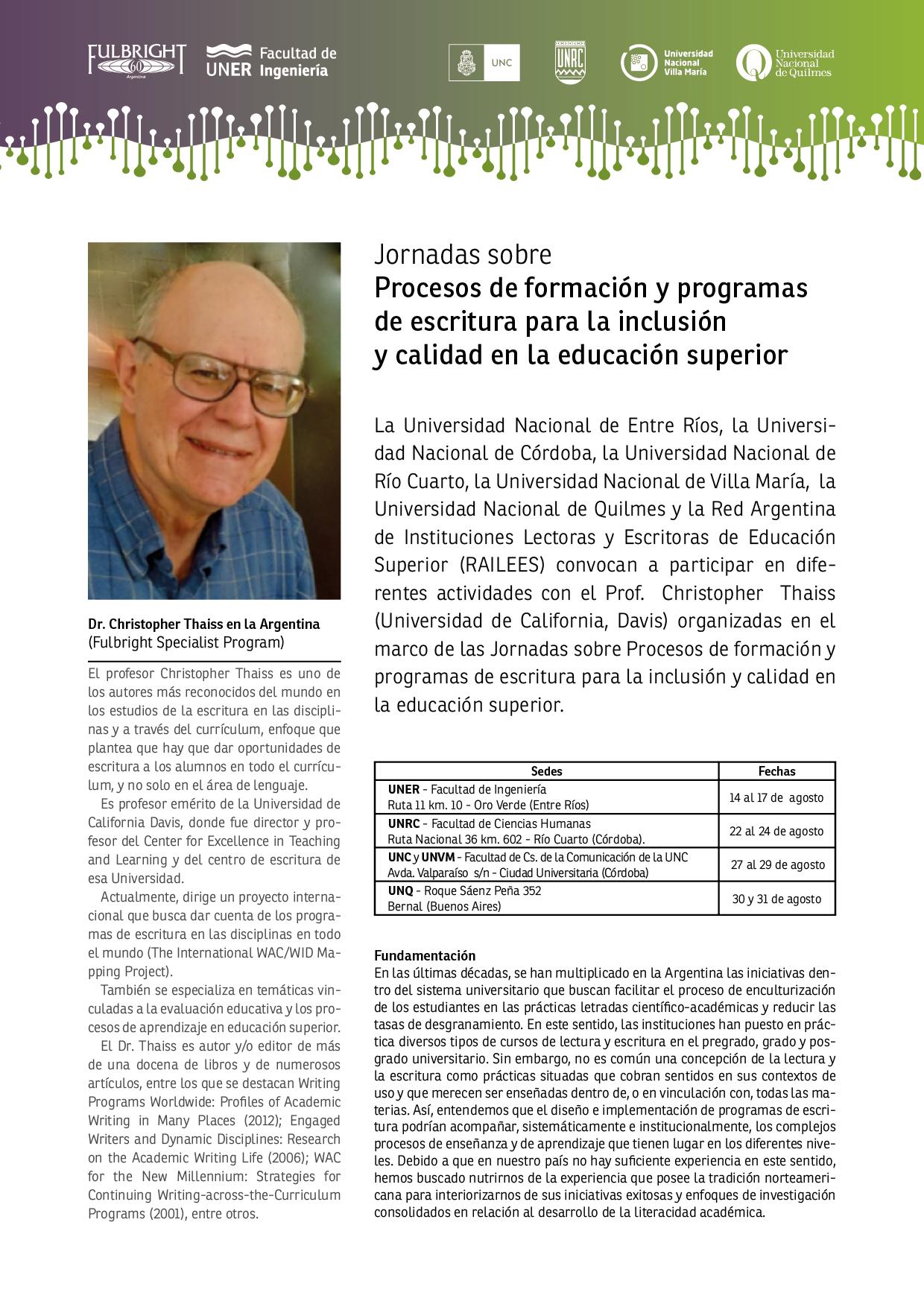 Chris Thaiss en Argentina: escribiendo a través del currículum ...
